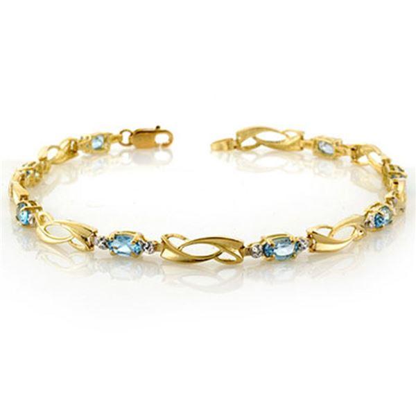 2.02 ctw Blue Topaz & Diamond Bracelet 10k Yellow Gold - REF-19N5F
