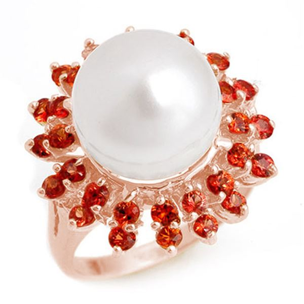 1.50 ctw Red Sapphire & Pearl Ring 14k Rose Gold - REF-39Y2X