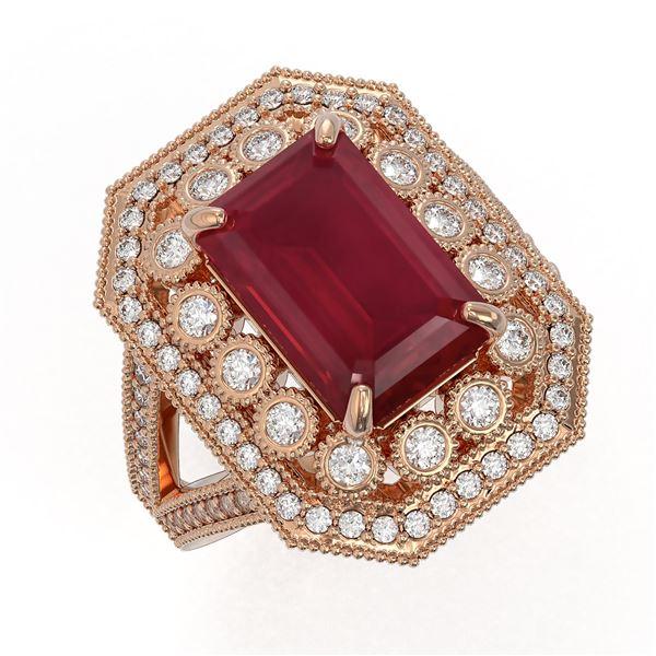 7.11 ctw Certified Ruby & Diamond Victorian Ring 14K Rose Gold - REF-171F5M