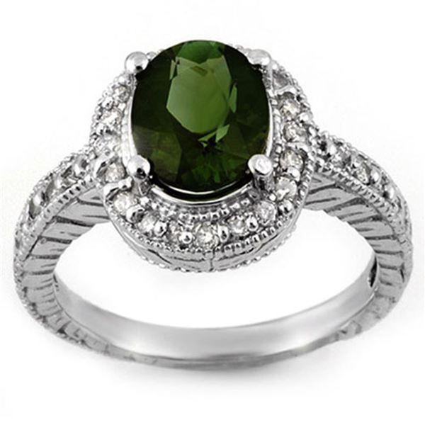 3.40 ctw Green Tourmaline & Diamond Ring 14k White Gold - REF-89W3H