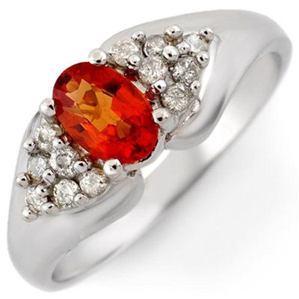 0.90 ctw Orange Sapphire & Diamond Ring 10k White Gold - REF-23M9G