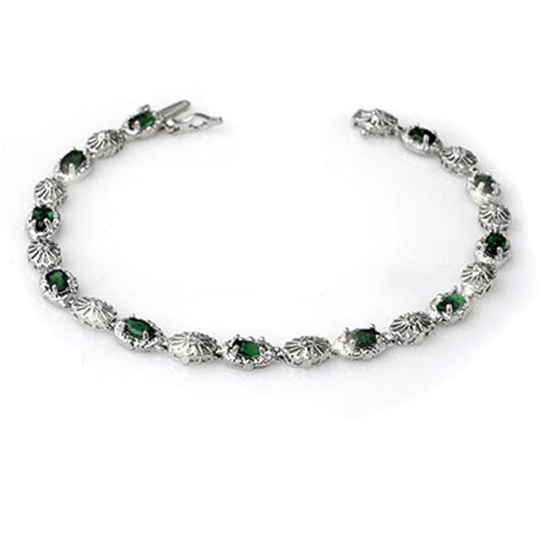2.62 ctw Emerald & Diamond Bracelet 14k White Gold - REF-89W3H