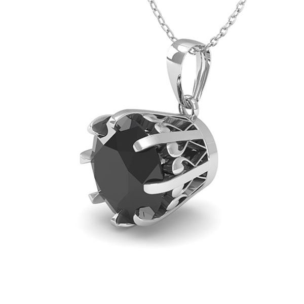 1 ctw Black Diamond Solitaire Necklace Vintage 14k White Gold - REF-27H4R