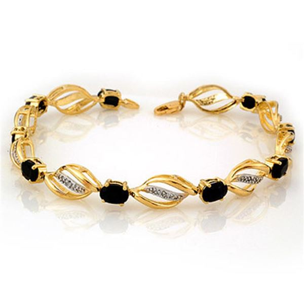 6.10 ctw Blue Sapphire & Diamond Bracelet 10k Yellow Gold - REF-45A3N