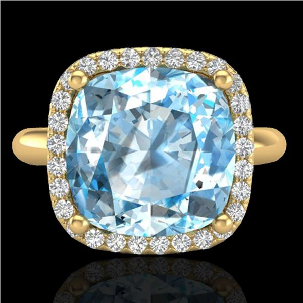 6 ctw Sky Blue Topaz & Micro Pave VS/SI Diamond Ring 18k Yellow Gold - REF-49X3A