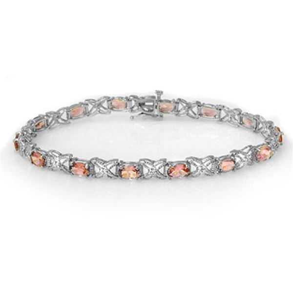 6.0 ctw Pink Tourmaline & Diamond Bracelet 18k White Gold - REF-127Y3X