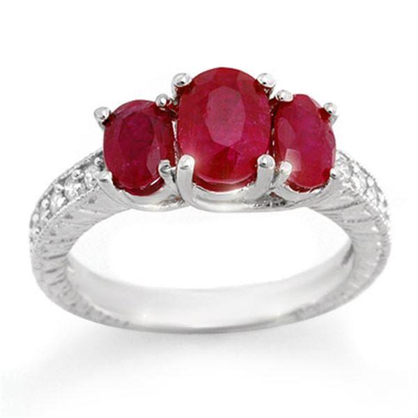 3.75 ctw Ruby & Diamond Ring 14k White Gold - REF-47W9H