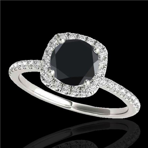 1.25 ctw Certified VS Black Diamond Solitaire Halo Ring 10k White Gold - REF-39F5M