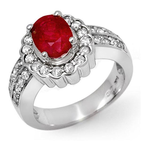 2.25 ctw Ruby & Diamond Ring 14k White Gold - REF-103R6K