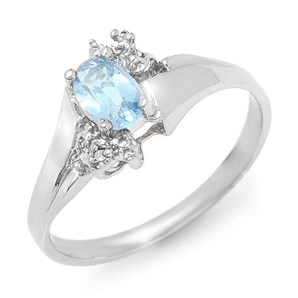 0.52 ctw Blue Topaz & Diamond Ring 18k White Gold - REF-23F2M