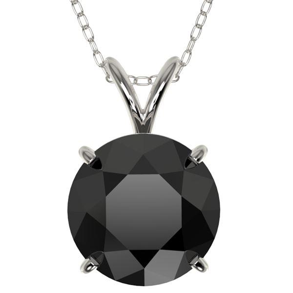 2.50 ctw Fancy Black Diamond Solitaire Necklace 10k White Gold - REF-60R3K