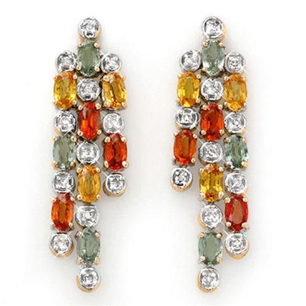 4.08 ctw Multi-Sapphire & Diamond Earrings 14k Yellow Gold - REF-95A3N
