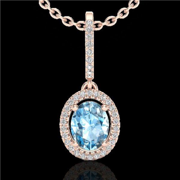 2 ctw Sky Blue Topaz & Micro VS/SI Diamond Necklace 14k Rose Gold - REF-40R3K
