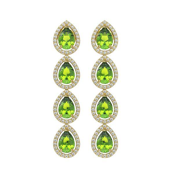 7.46 ctw Peridot & Diamond Micro Pave Halo Earrings 10k Yellow Gold - REF-153Y5X