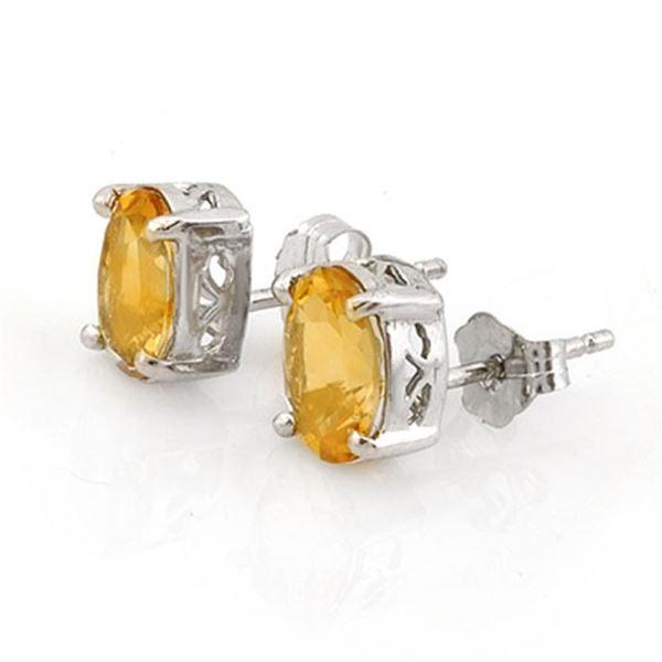 1.50 ctw Citrine Earrings 18k White Gold - REF-11W5H