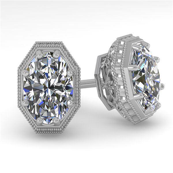 1.0 ctw VS/SI Oval Cut Diamond Stud Earrings Art Deco 18k White Gold - REF-170Y9X