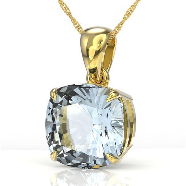 6 Cushion Cut Sky Blue Topaz Necklace 18k Yellow Gold - REF-24G5W