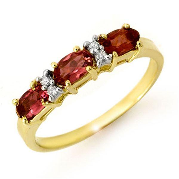 0.83 ctw Pink Tourmaline & Diamond Ring 10k Yellow Gold - REF-17W6H
