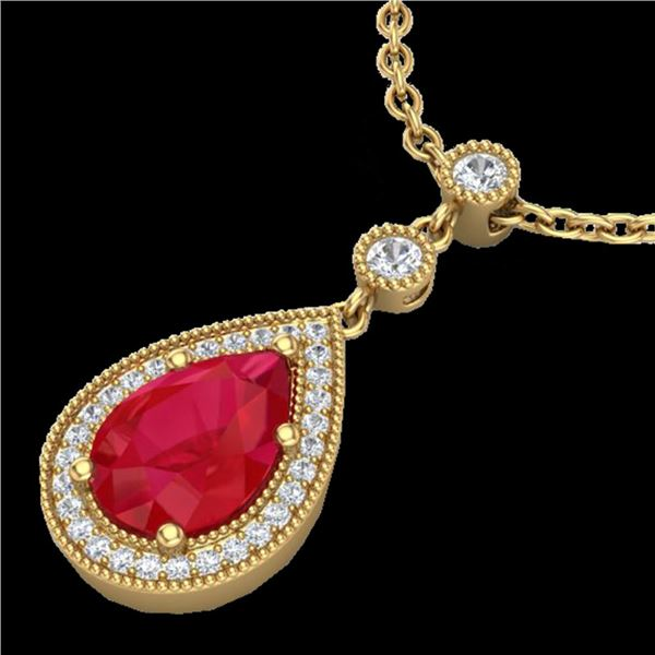 2.75 ctw Ruby & Micro Pave VS/SI Diamond Necklace 18k Yellow Gold - REF-44X4A