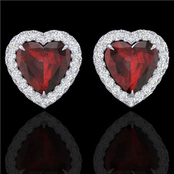 2.22 ctw Garnet & Micro Pave Diamond Earrings Heart 14k White Gold - REF-38N2F