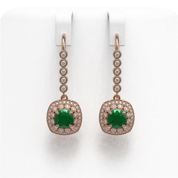 5.1 ctw Certified Emerald & Diamond Victorian Earrings 14K Rose Gold - REF-172K8Y