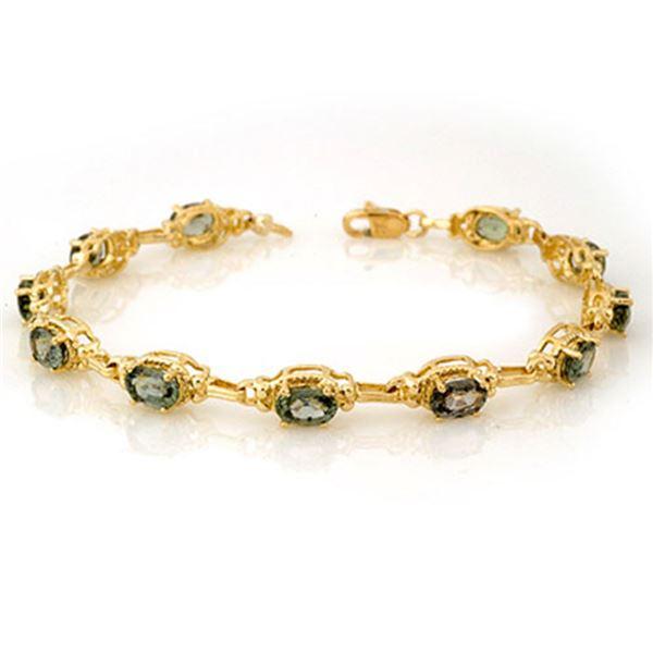 8.0 ctw Green Sapphire Bracelet 10k Yellow Gold - REF-49K3Y
