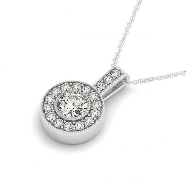 0.73 ctw Certified SI Diamond Halo Necklace 14k White Gold - REF-55Y3X