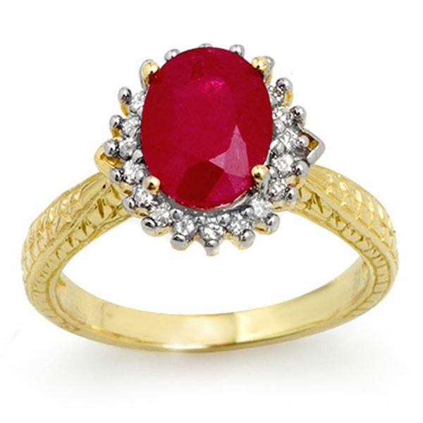 2.75 ctw Ruby & Diamond Ring 18k Yellow Gold - REF-103H6R