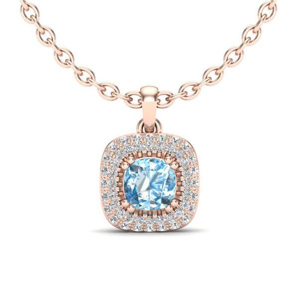 1.08 ctw Sky Blue Topaz & Micro VS/SI Diamond Necklace Halo 14k Rose Gold - REF-40N9F