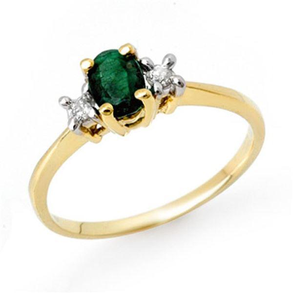 1.04 ctw Emerald & Diamond Ring 10k Yellow Gold - REF-23R9K