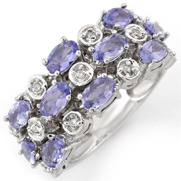 2.20 ctw Tanzanite & Diamond Ring 18k White Gold - REF-90H8R