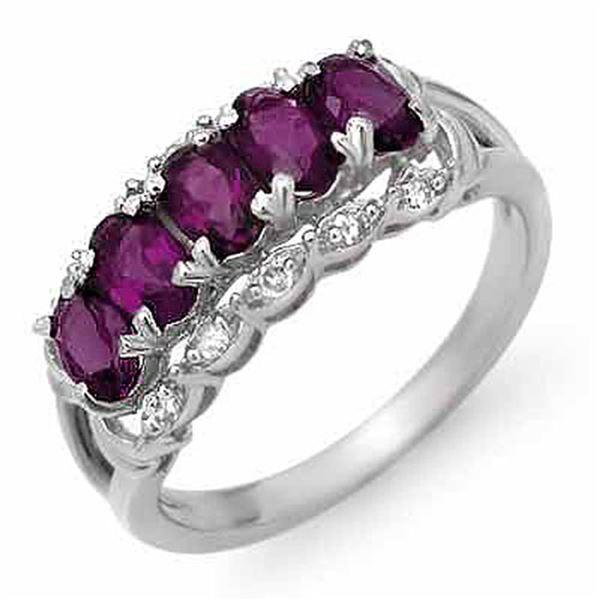 1.65 ctw Amethyst & Diamond Ring 18k White Gold - REF-34G3W