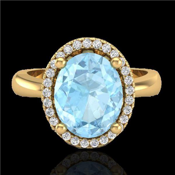 2.50 ctw Aquamarine & Micro Pave VS/SI Diamond Ring 18k Yellow Gold - REF-46X8A