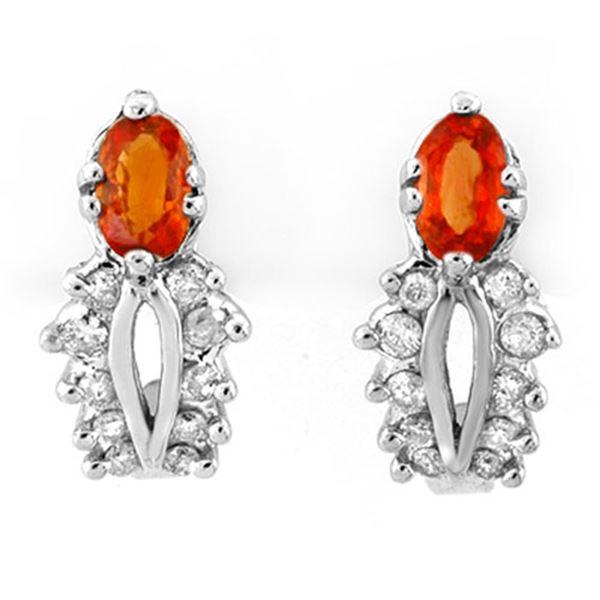 0.90 ctw Orange Sapphire & Diamond Earrings 10k White Gold - REF-22R5K
