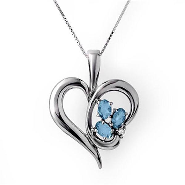 0.87 ctw Blue Topaz & Diamond Pendant 18k White Gold - REF-33W4H
