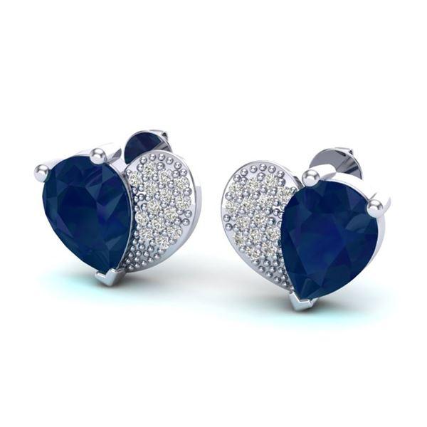 2.50 ctw Sapphire & Micro Pave VS/SI Diamond Earrings 10k White Gold - REF-23M9G