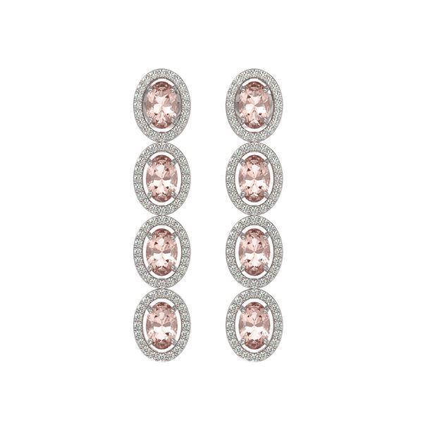 6.09 ctw Morganite & Diamond Micro Pave Halo Earrings 10k White Gold - REF-143Y6X