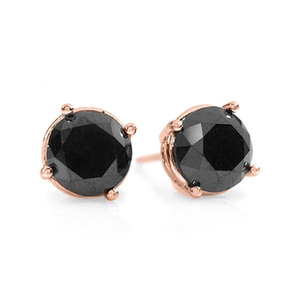 1.50 ctw VS Certified Black Diamond Stud Earrings 18k Rose Gold - REF-28A2N