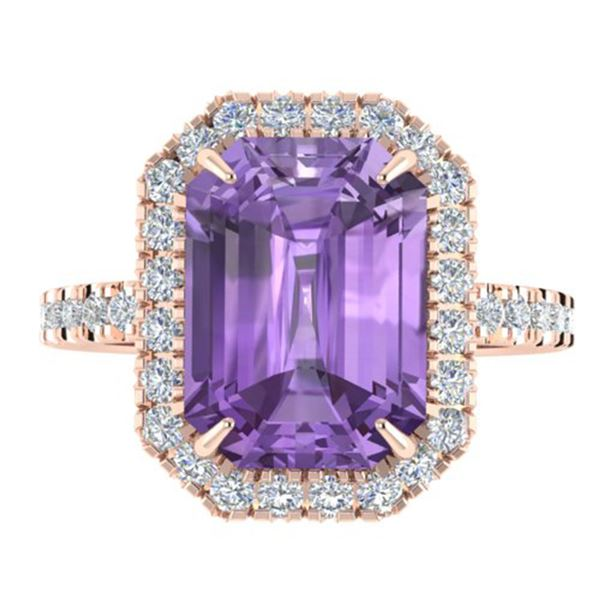 5.03 ctw Amethyst & Micro Pave VS/SI Diamond Ring 14k Rose Gold - REF-39R8K