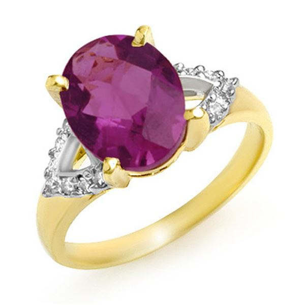 3.20 ctw Amethyst & Diamond Ring 10k Yellow Gold - REF-23A3N