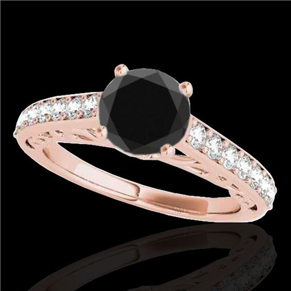 1.4 ctw Certified VS Black Diamond Solitaire Ring 10k Rose Gold - REF-43R5K