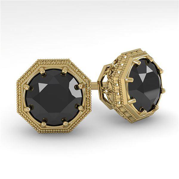2.0 ctw Black Diamond Stud Solitaire Earrings Art Deco 14k Yellow Gold - REF-53A5N