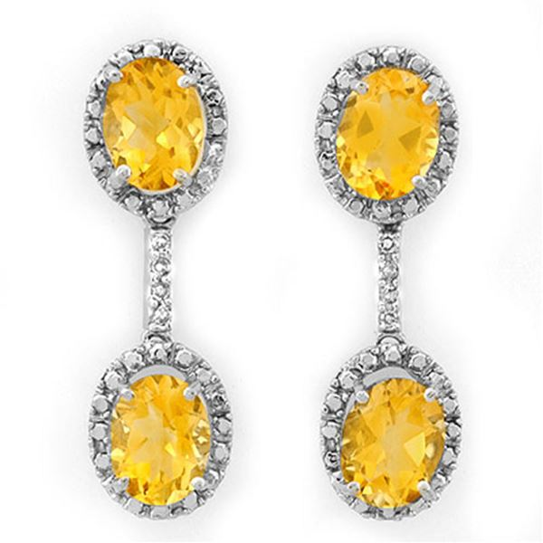 6.10 ctw Citrine & Diamond Earrings 14k White Gold - REF-34A3N