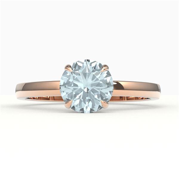 2 ctw Sky Blue Topaz Designer Solitaire Engagment Ring 14k Rose Gold - REF-19H2R
