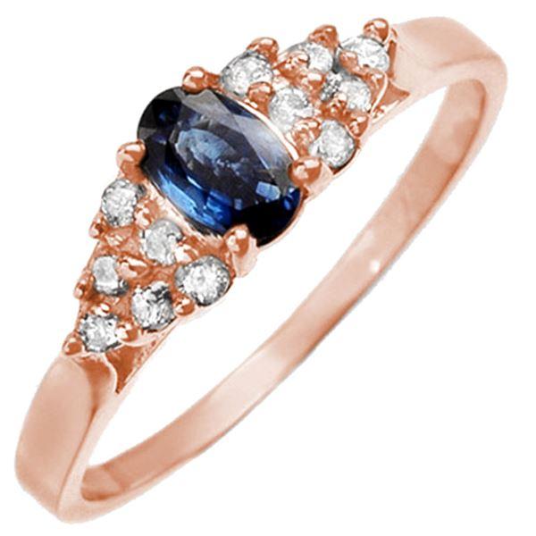 0.74 ctw Blue Sapphire & Diamond Ring 14k Rose Gold - REF-21F5M