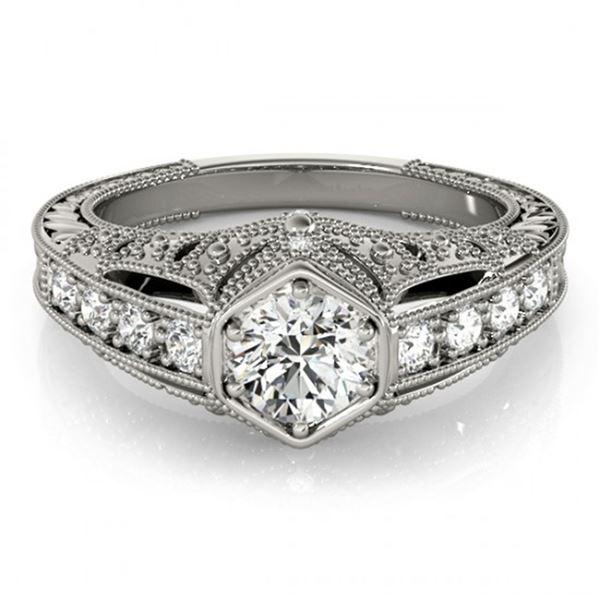 0.65 ctw Certified VS/SI Diamond Antique Ring 18k White Gold - REF-103W2H