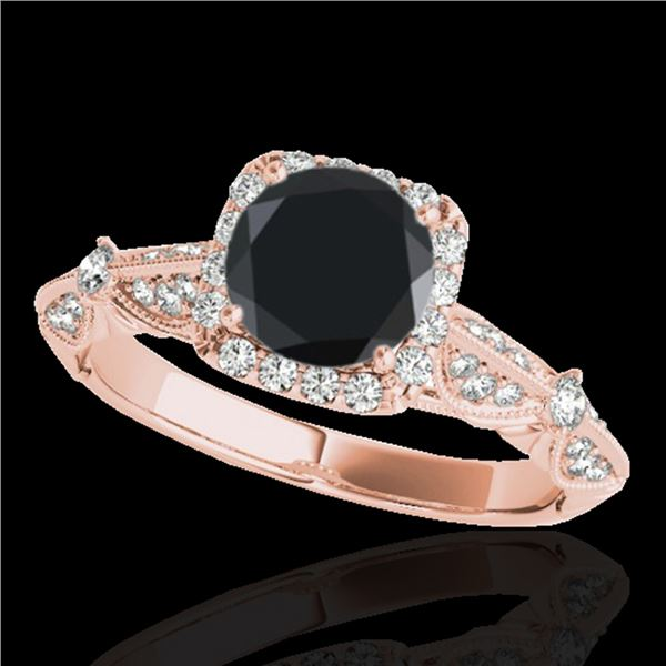 1.36 ctw Certified VS Black Diamond Solitaire Halo Ring 10k Rose Gold - REF-51A8N