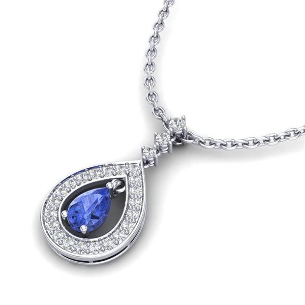 1.15 ctw Tanzanite & Micro Pave VS/SI Diamond Necklace 14k White Gold - REF-49N3F