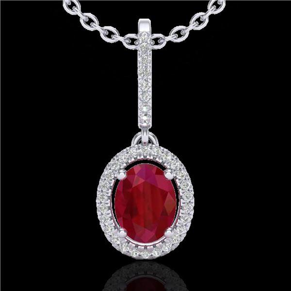 2 ctw Ruby & Micro Pave VS/SI Diamond Necklace Halo 18k White Gold - REF-55F2M