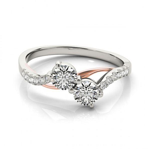 0.85 ctw Certified VS/SI Diamond 2 Stone Ring 18k 2Tone Gold - REF-85M9G